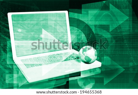 Internet Technology and a Global Network System Art - stock photo