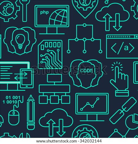 Internet technology and programming seamless background with linear icons set. Html, php and code seamless pattern with line style icons on black. - stock photo