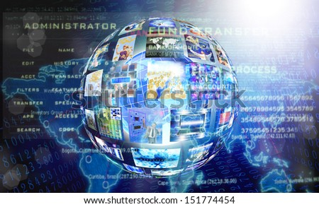 Internet technology background - stock photo