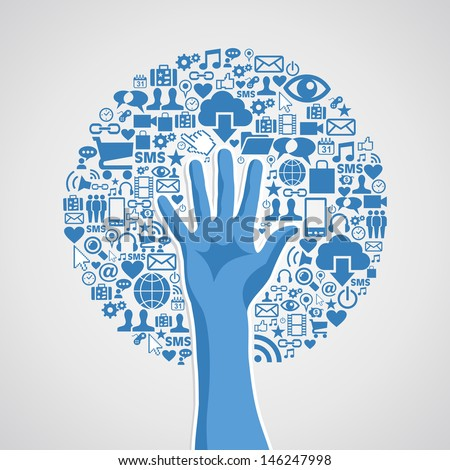 Internet technology concept hand tree icons set. - stock photo