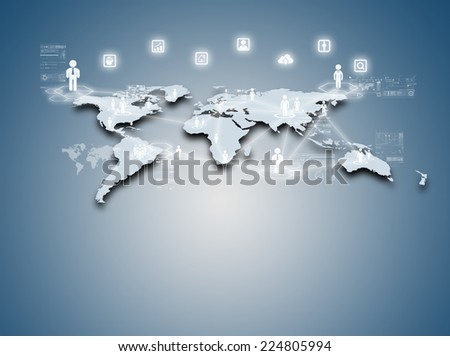 Internet technology concept of global business or social network connection - stock photo
