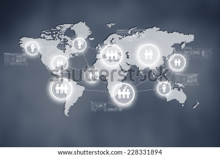 Internet technology concept of global business or social network connection