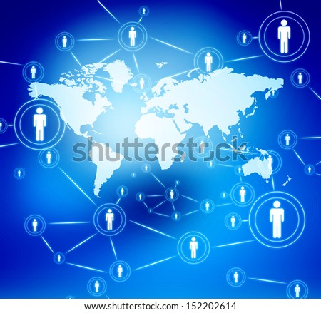 Internet technology concept of global business , social networking  - stock photo