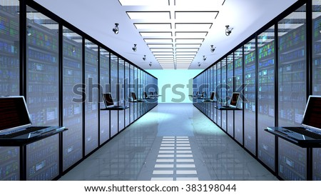 Internet technology connection, datacenter, Networking connectivity concept: terminal monitor in server room - stock photo
