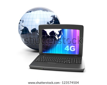 Internet technology. 4g internet connection speed. Earth and notebook close-up on white background