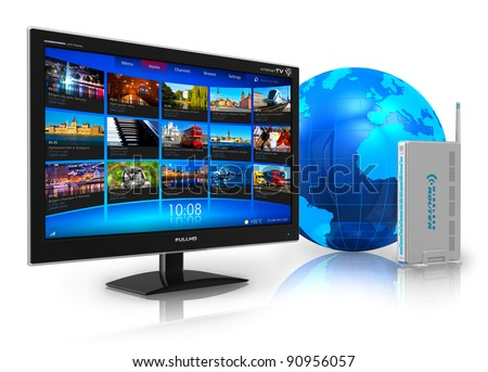 Internet television concept: widescreen TV with streaming video gallery, blue Earth globe and wireless router isolated on white reflective background