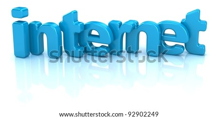 internet text 3d isolated over white background