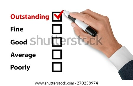 Internet. Tick placed in awesome checkbox on customer service satisfaction survey form - stock photo