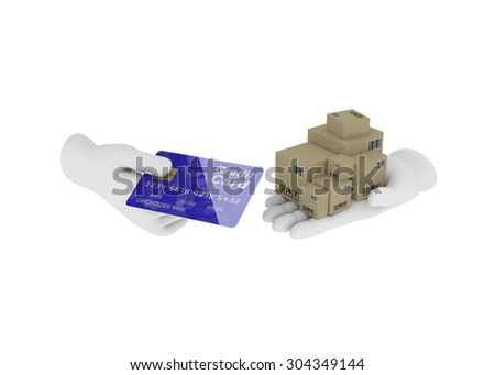 Internet trade. 3d illustration on a white background. Render.  - stock photo