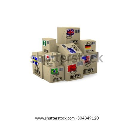 Internet trade. Goods in boxes with the flags of different countries.  3d illustration on a white background. Render.  - stock photo