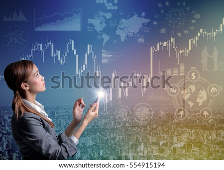 internet trading concept. young woman using smart phone and financial technology abstract