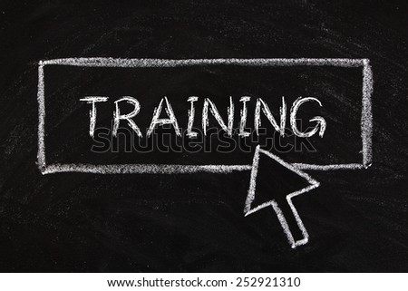 Internet Training concept drawing on blackboard. - stock photo