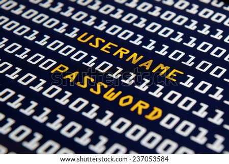 Internet - Username and password