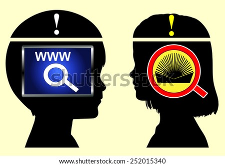Internet versus Books. Boy is collecting information from the net, girl from books in childhood education - stock photo
