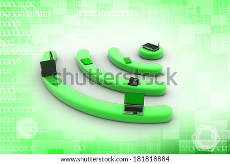 Internet via router on pc, phone, laptop and tablet pc. - stock photo