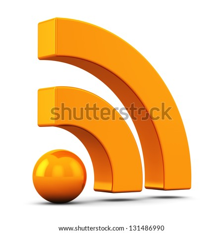 Internet web communication concept: 3D orange RSS symbol, icon or button isolated on white background - stock photo