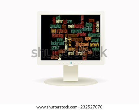 INTERNET word collage in computer LCD screen - stock photo