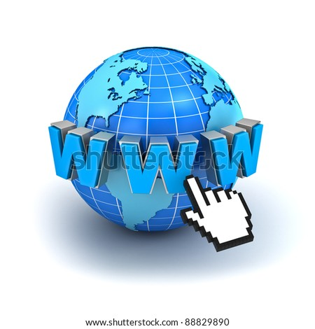 Internet world wide web concept, Earth globe with www text and computer hand cursor isolated on white background - stock photo