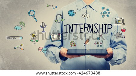 Internship concept with young man holding a tablet computer
