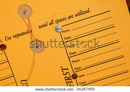 Interoffice memo envelope string enclosure stock photo for Interoffice envelope template cover