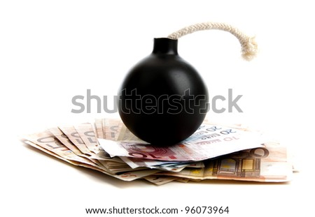 Interpetetion of the world wide economical crisis in a studio against white - stock photo