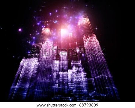 Interplay of abstract lights and skyscraper structures on the subject of modern metropolis and city life - stock photo