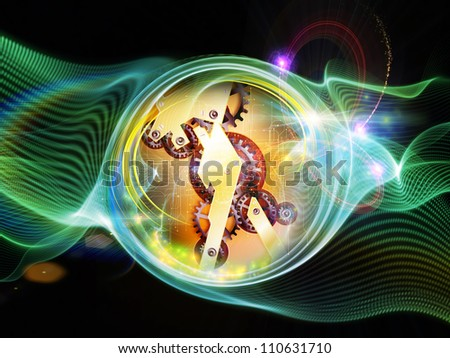 Interplay of clock elements and turbulence lines on the subject of time, schedule, deadlines and time critical processes - stock photo