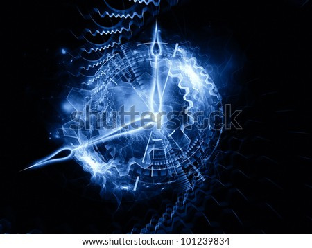Interplay of clock hands, gears, lights and numbers on the subject of time sensitive issues, deadlines, scheduling, temporal computational processes, digital technologies, past, present and future - stock photo