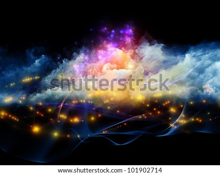 Interplay of clouds of fractal foam and abstract lights on the subject of art, spirituality, painting, music , visual effects and creative technologies - stock photo