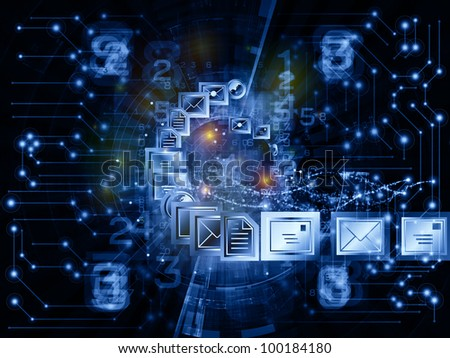 Interplay of communication symbols,  messaging icons and technological design elements on the subject of global communications, messaging, information sharing and modern technologies - stock photo