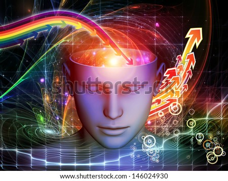 Interplay of cutout of male head and symbolic elements on the subject of human mind, consciousness, imagination, science and creativity - stock photo