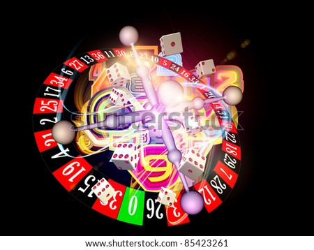 Interplay of dice, roulette wheel elements and abstract graphics on the subject of chance, luck, casino, games and risk - stock photo