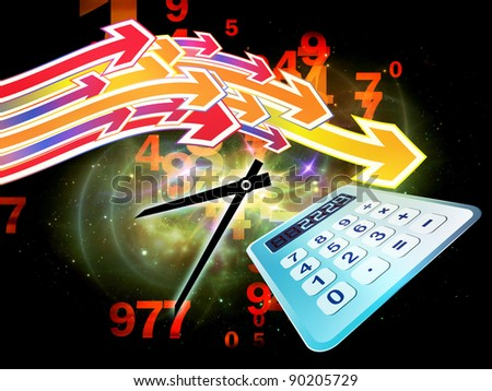 Interplay of digital calculator, clock, numbers and colors on the subject of calculation, deadline and office work - stock photo