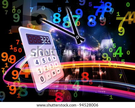 Interplay of digital calculator, clock, numbers and colors on the subject of calculation, deadline and office work