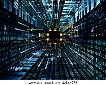 Interplay of digital circuit and number graphics on the subject of electronics, computers, communications and modern technologies. - stock photo