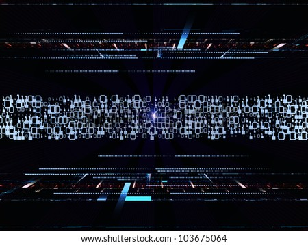 Interplay of fractal grids, lights  and technological elements on the subject of science, computing and modern technologies - stock photo