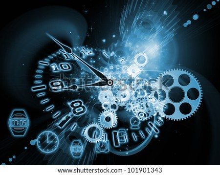 Interplay of gears, clock elements and abstract design elements on the subject of scheduling, temporal and time related processes, deadlines, progress, past, present and future