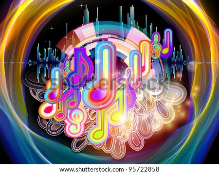 Interplay of graphic analyzer bars, music notes and abstract design elements on the subject of music, concert performance, sound and entertainment - stock photo