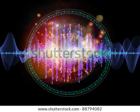 Interplay of graphic analyzer bars, music notes, lights and circular design elements on the subject of music, concert performance, sound and entertainment - stock photo