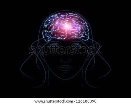 Interplay of head outlines, lights and abstract design elements on the subject of intelligence,  consciousness, logical thinking, mental processes and brain power - stock photo