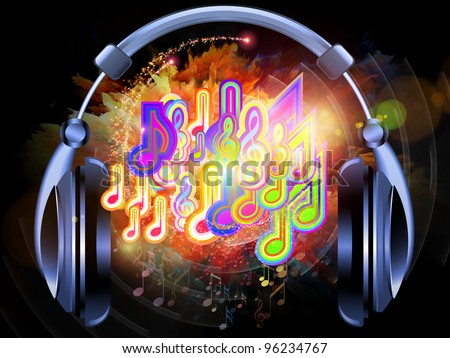 Interplay of headphones, musical notes, abstract design elements, colors and lights on the subject of music, sound,  audiophile, performance, song, party and entertainment
