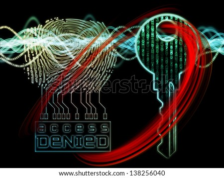 Interplay of human finger print, key symbol and fractal design elements on the subject of encryption, security, digital communications, science and technology - stock photo