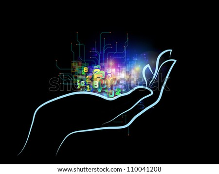 Interplay of human hand and technological elements on the subject of science, alternative energy and portable technologies - stock photo