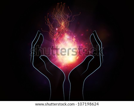 Interplay of human hands, technological design and light on the subject of energy, science and technology