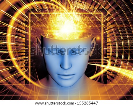 Interplay of human head and symbolic elements on the subject of human mind, consciousness, imagination, science and creativity