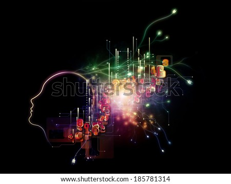 Interplay of human profile, fractal elements and numbers on the subject of computers and modern technology - stock photo