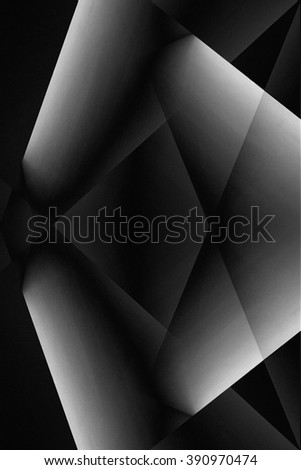 Interplay of light and shadows. Double exposure photo of diffusing screens provided this abstract black and white architectural composition with highlighting.