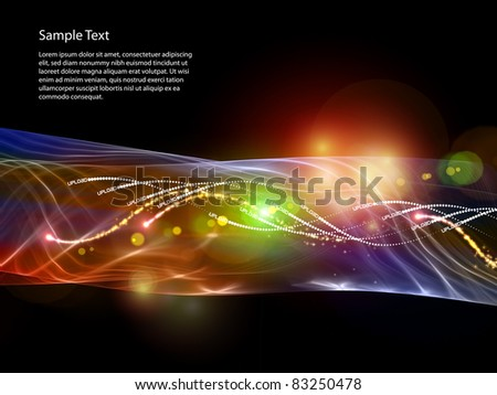 Interplay of lights, colors, sine curves and abstract design elements on the subject of data transfer, modern technology, digital communications and computers