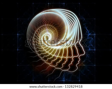 Interplay of lines of human head and digits on the subject of artificial intelligence, science, education and technology - stock photo
