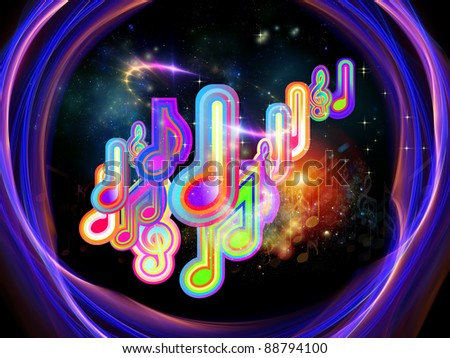 Interplay of music notes and abstract design elements on the subject of music, concert performance, sound and entertainment - stock photo